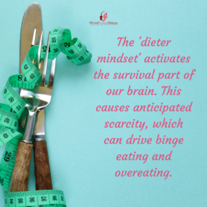 Image of fork and knife with a measuring tape and quote about diet mindset being important to stop binge eating and overeating